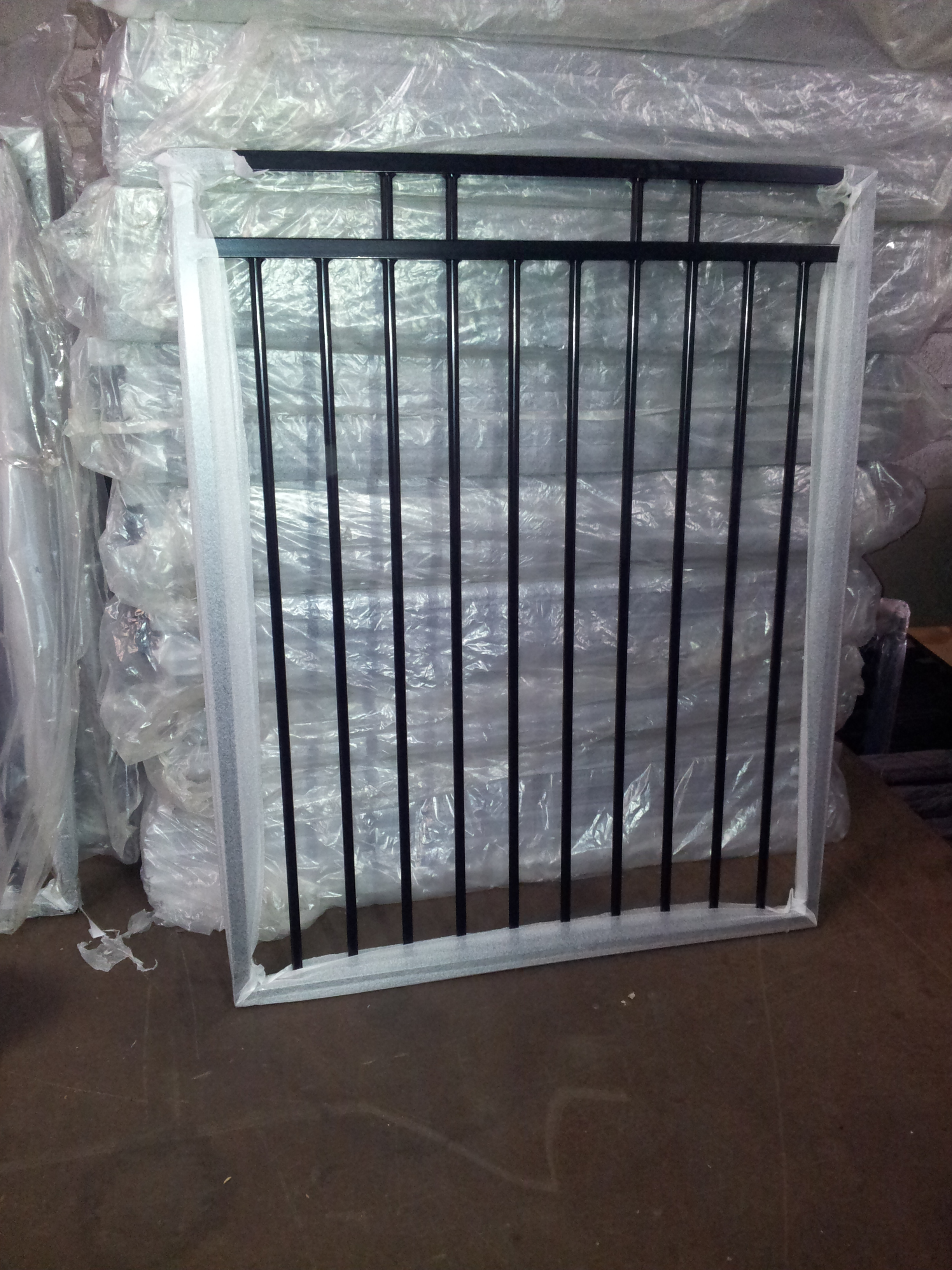 Panel Double Rail Flat Top 2400 215 1200 Black Fencing Store