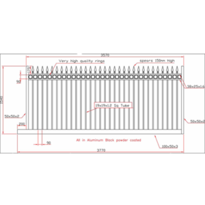 1500 high Sliding gate drawing