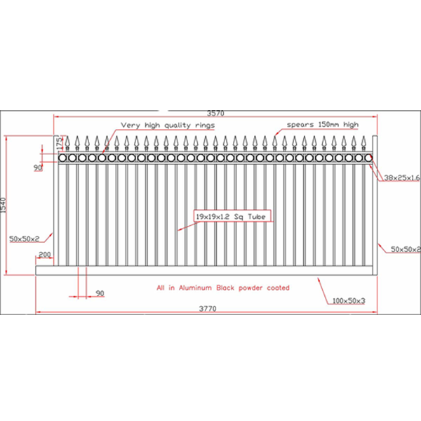High sliding gate drawing fencing store