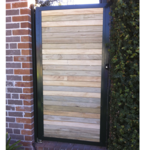 Treated-pine-in-aluminium-frame-swinging-gate