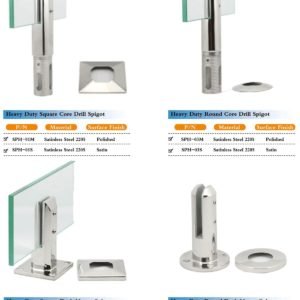 All types of spigots for 10 and 12mm glass