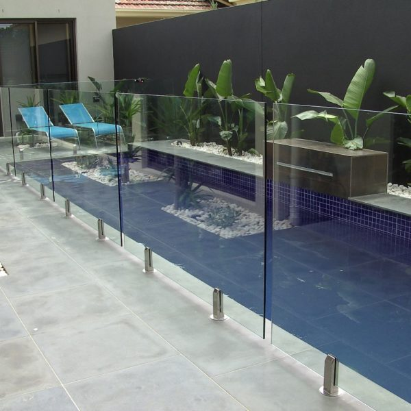 frameless glass with square spigots