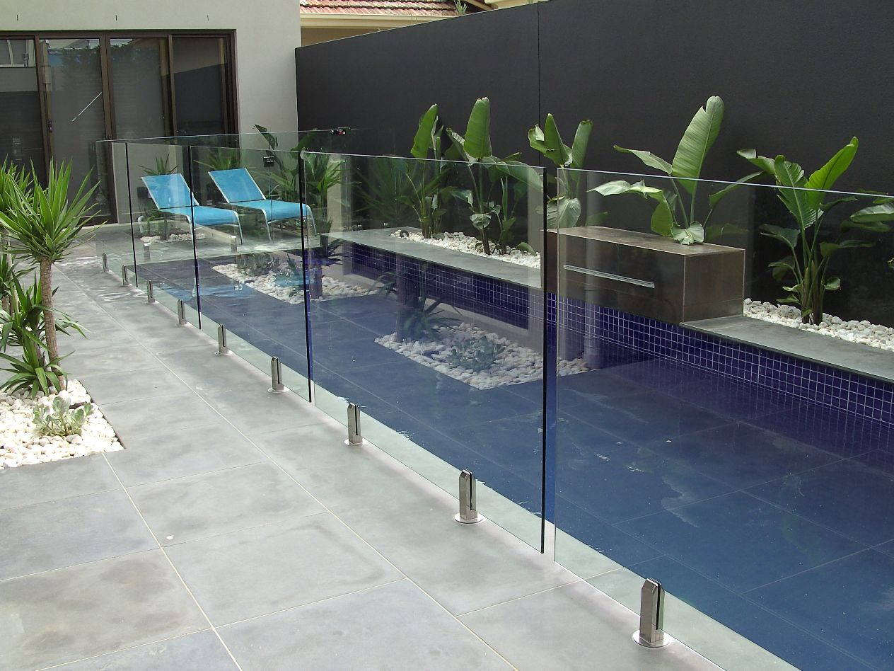 Frameless Glass With Square Spigots Glass Installed Fencing Store
